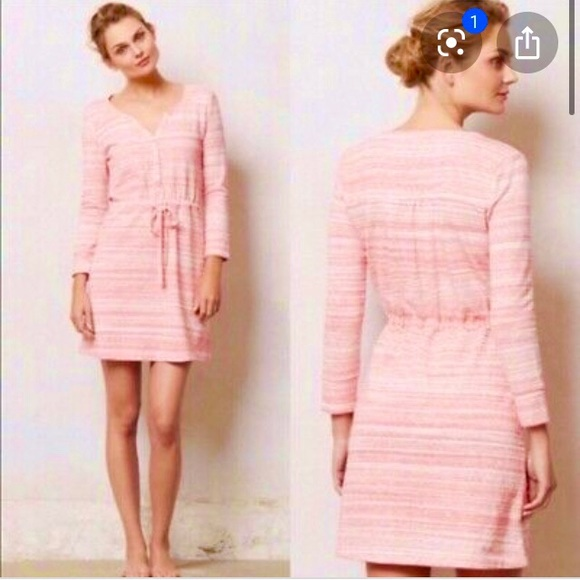 Anthropologie Dresses & Skirts - Anthropologie Shirt Dress Sweatshirt Pink Small